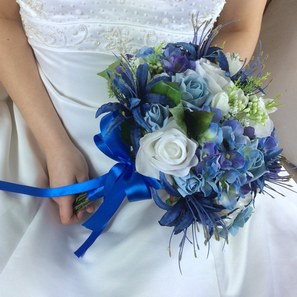 Wedding Flowers On A Budget Uk: A Brides Bouquet Of Blue & White Or Ivory Silk Flowers In