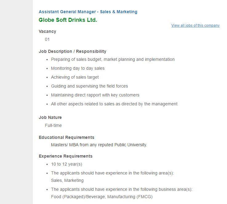 Globe Soft Drinks Ltd Assistant General Manager - Sales - general manager job description