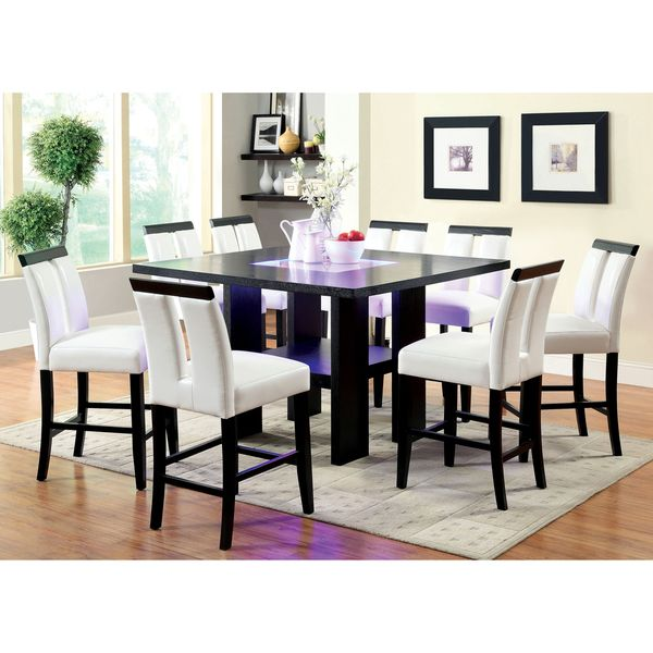 room furniture of america lumina 9piece light up counter height dining set