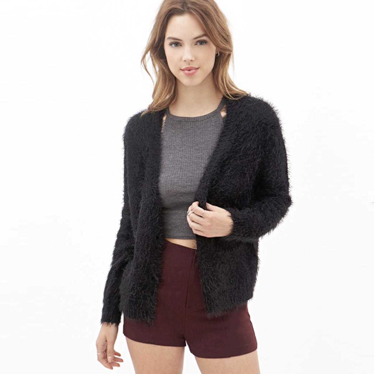 Fuzzy sweaters FTW! They remind me of the '90s, and this cardigan ...