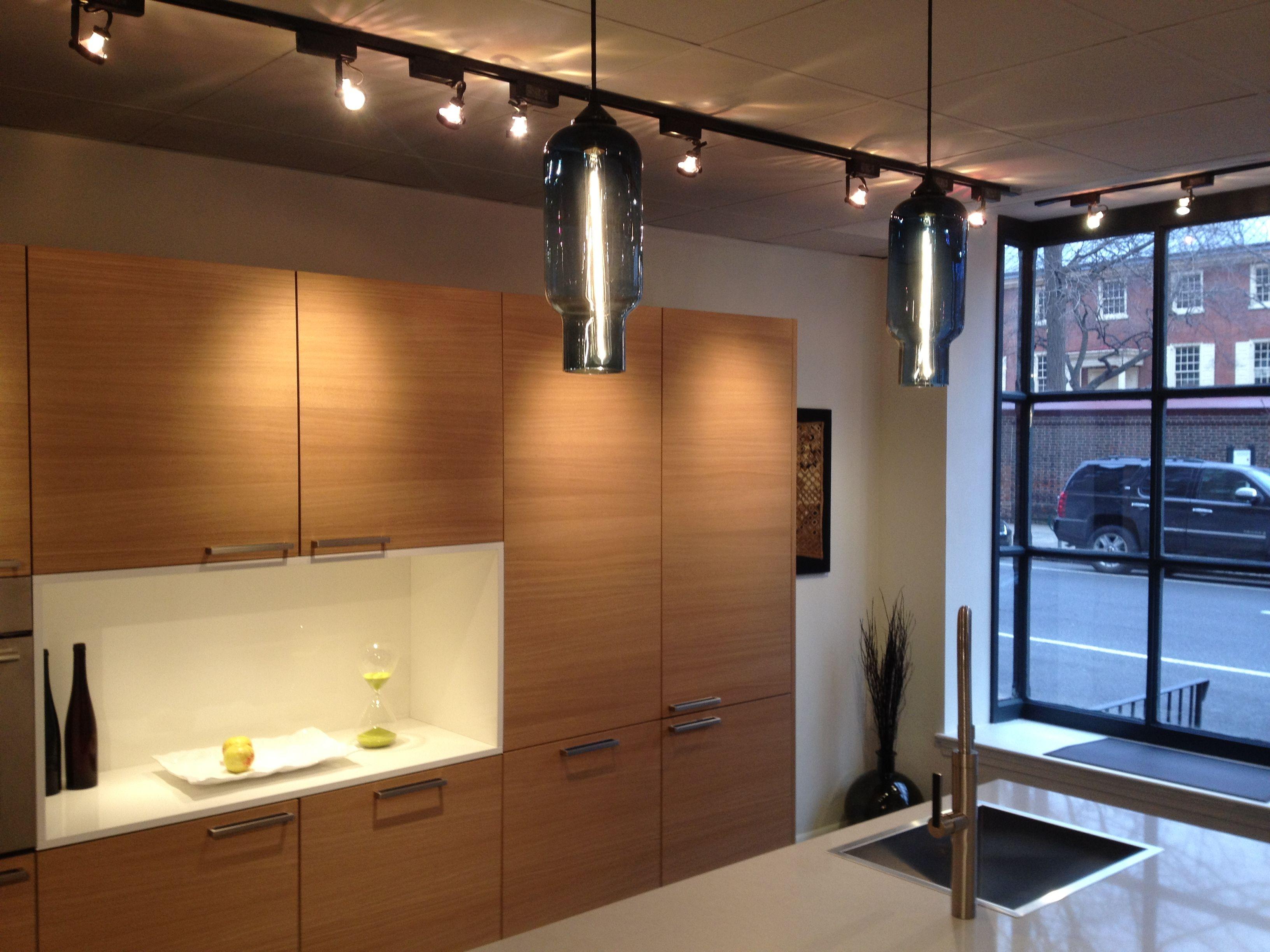 two pharos pendant lights over the kitchen counter of eggersmann studio in philadelphia modernlight - Kitchen Counter Hanging Lights