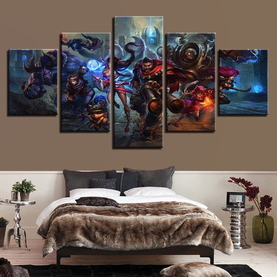 5 Pieces League Of Legends Paintings Canvas Prints Game Poster Living Room Canvas Painting Wall Art Canvas Painting Framed Canvas Wall Art
