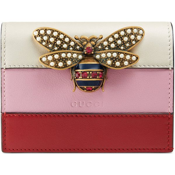 d4dd6f7e8c3 Gucci Queen Margaret Leather Card Case ( 495) ❤ liked on Polyvore featuring  bags