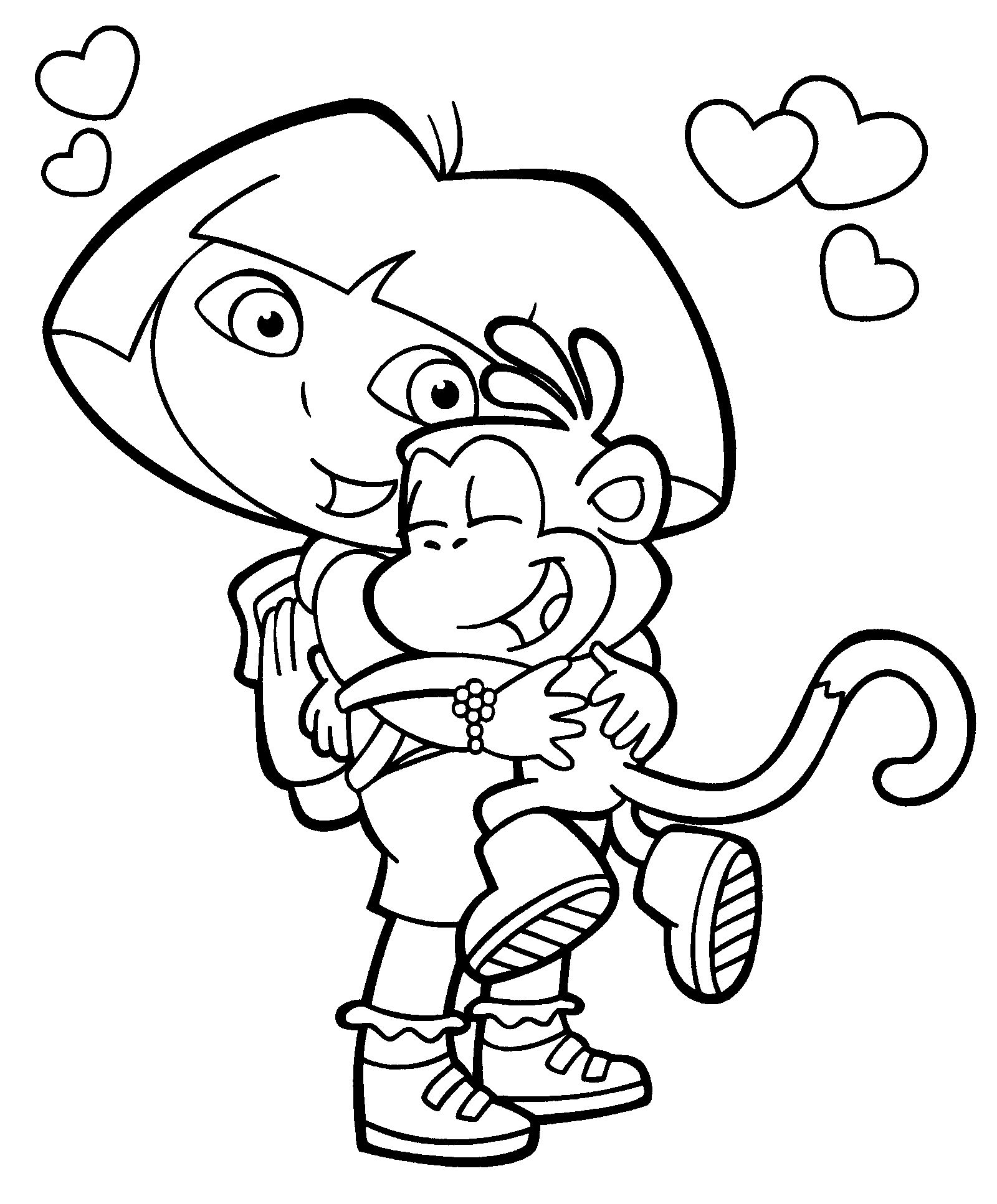 Free dora pictures to print and color dora coloring for Dora black and white coloring pages
