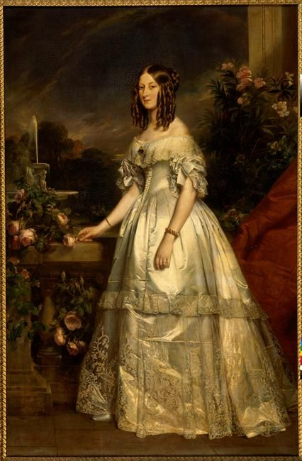 1840 Victoire-Auguste-Antoinette, Princesse de Saxe-Cobourg-Gotha, Duchesse de Nemours by Franz Xavier Winterhalter (Versailles)  Victoria of Saxe Coburg Kohary, portrayed here in 1840 by Winterhalter, married into the Orléans family to become the Duchesse de Nemours.  First cousin of Queen Victoria; I believe she died young.