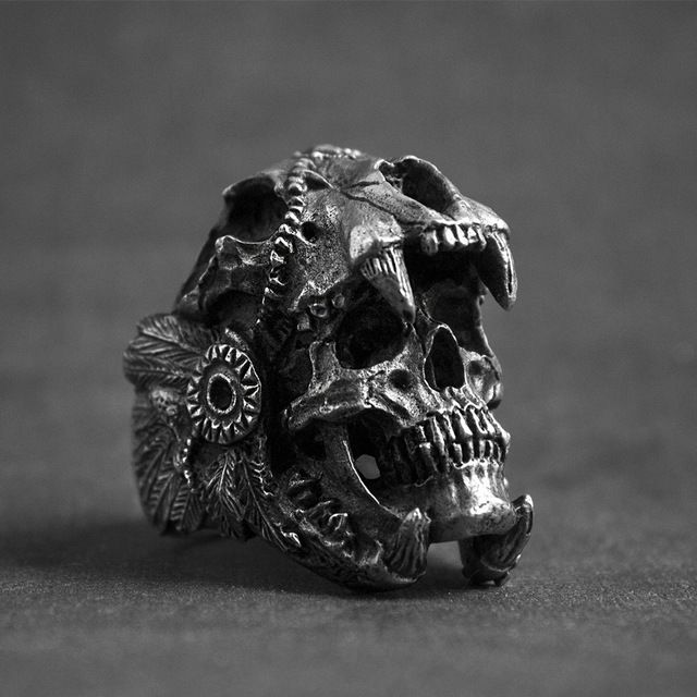 Stainless steel indian warrior skull rings
