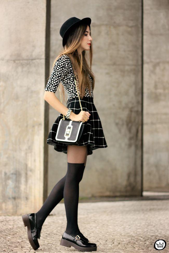 edbfed6de81 FashionCoolture - 26.05.2015 look du jour Black and white outfit polka dots  top plaid skirt (3)