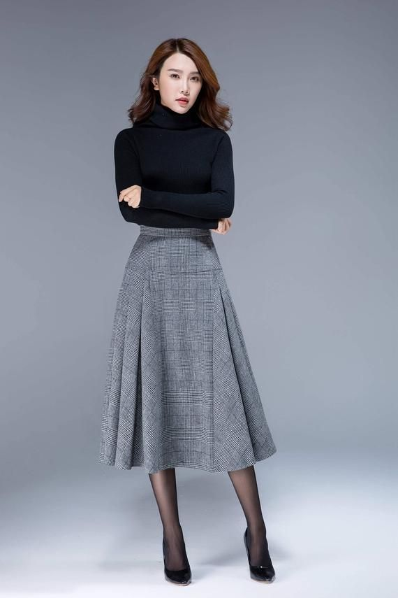 Tartan skirt, wool skirt, high waisted skirt, fitted skirt, ladies skirt, pleated skirt, midi skirt, A line skirt, winter skirt 1794#