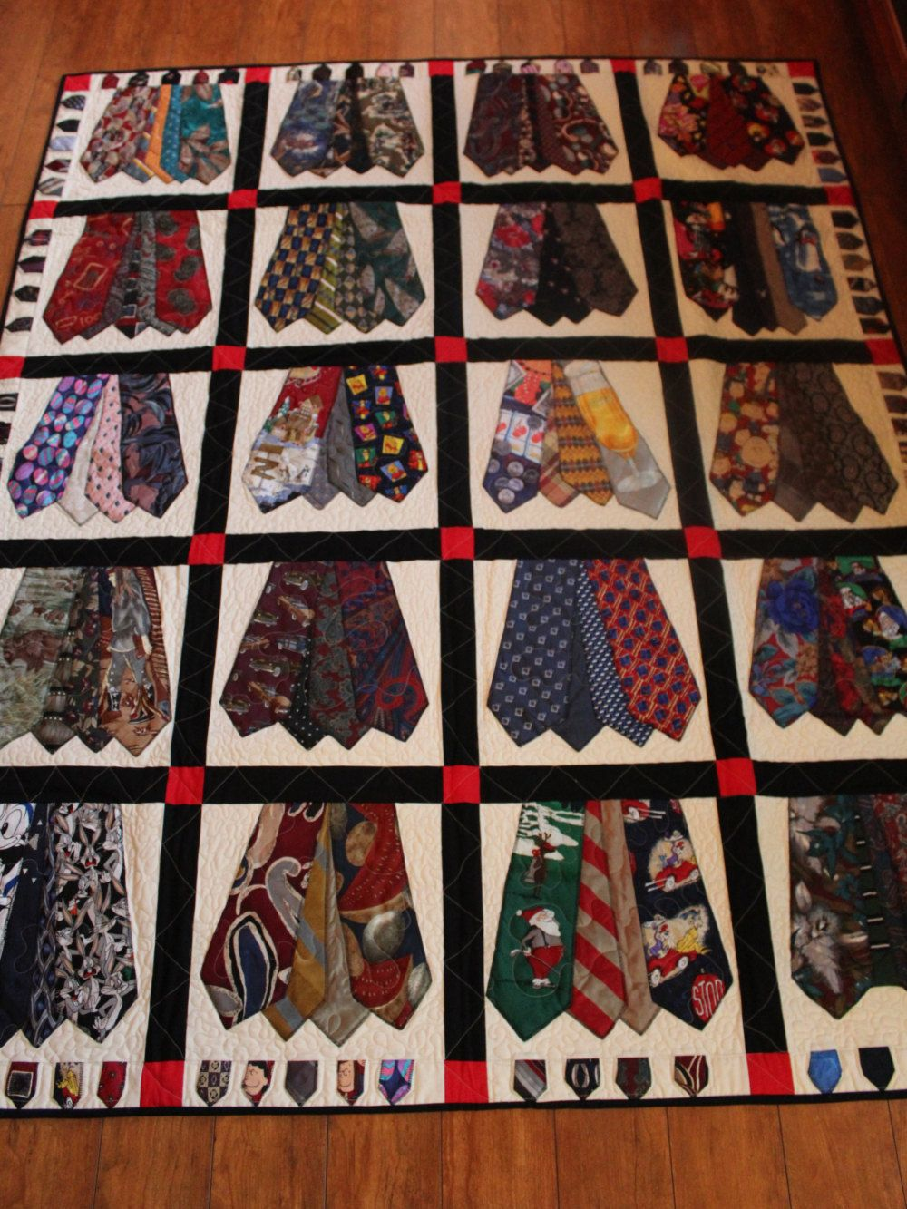 Necktie Quilting Patterns : Memory quilt of men s ties, Full size quilt of mmen s ties, Queen size quilt, King size quilt ...