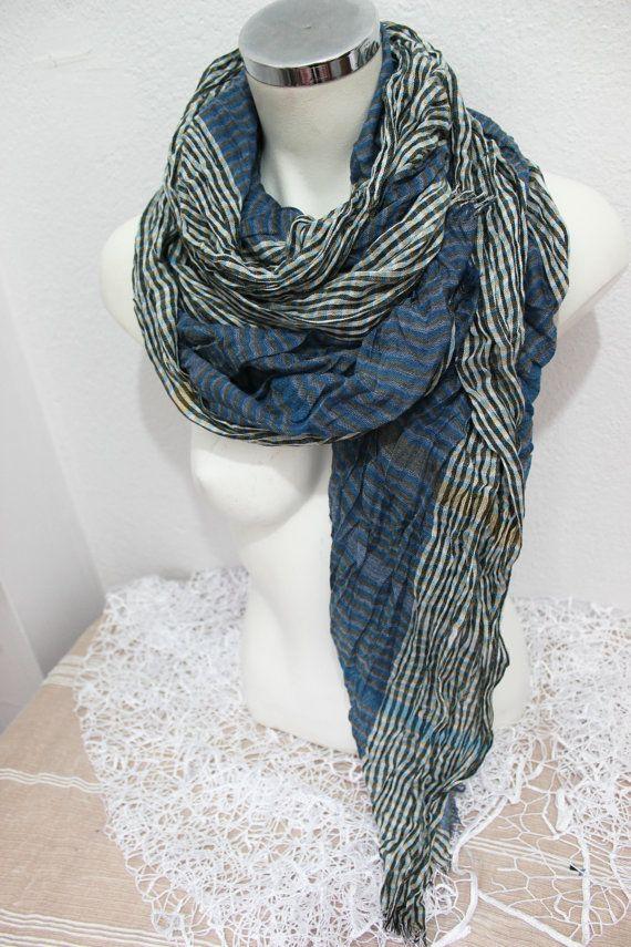3b2d45515fc8 Men s cotton scarf Blue black men scarf Striped by Nazcolleccolors ...