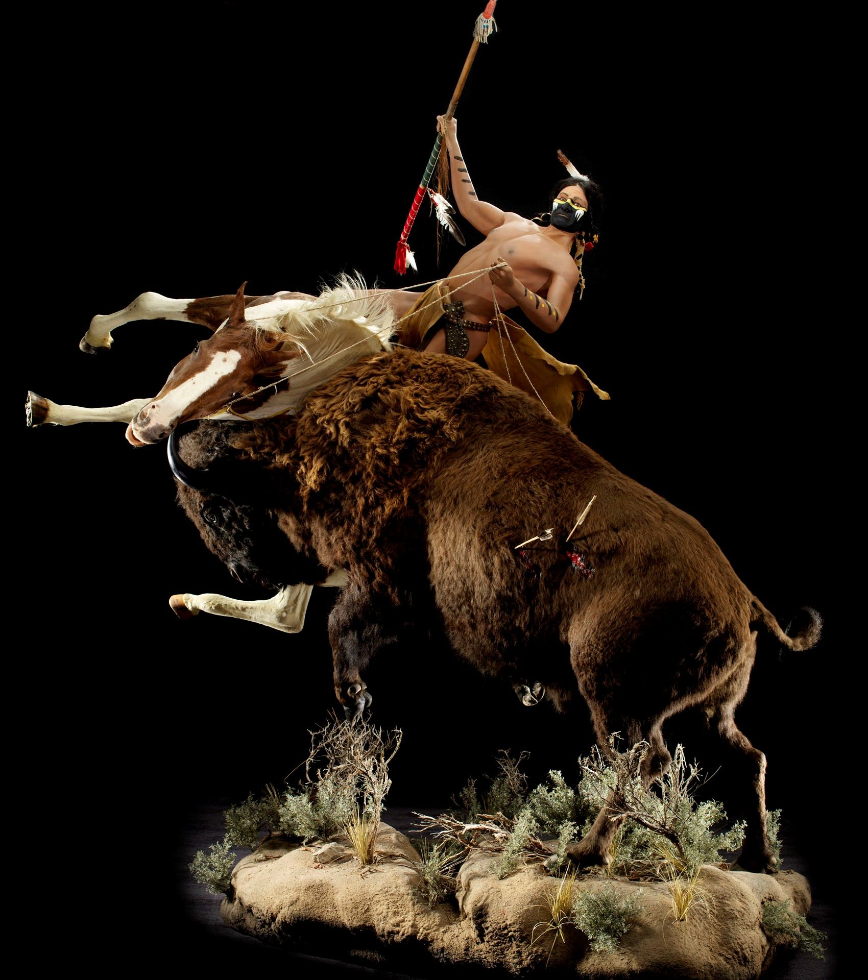 """buffalo And Indian Scene"" Sculpture Taxidermy Art Animal Artistry #animalartistryreno #"