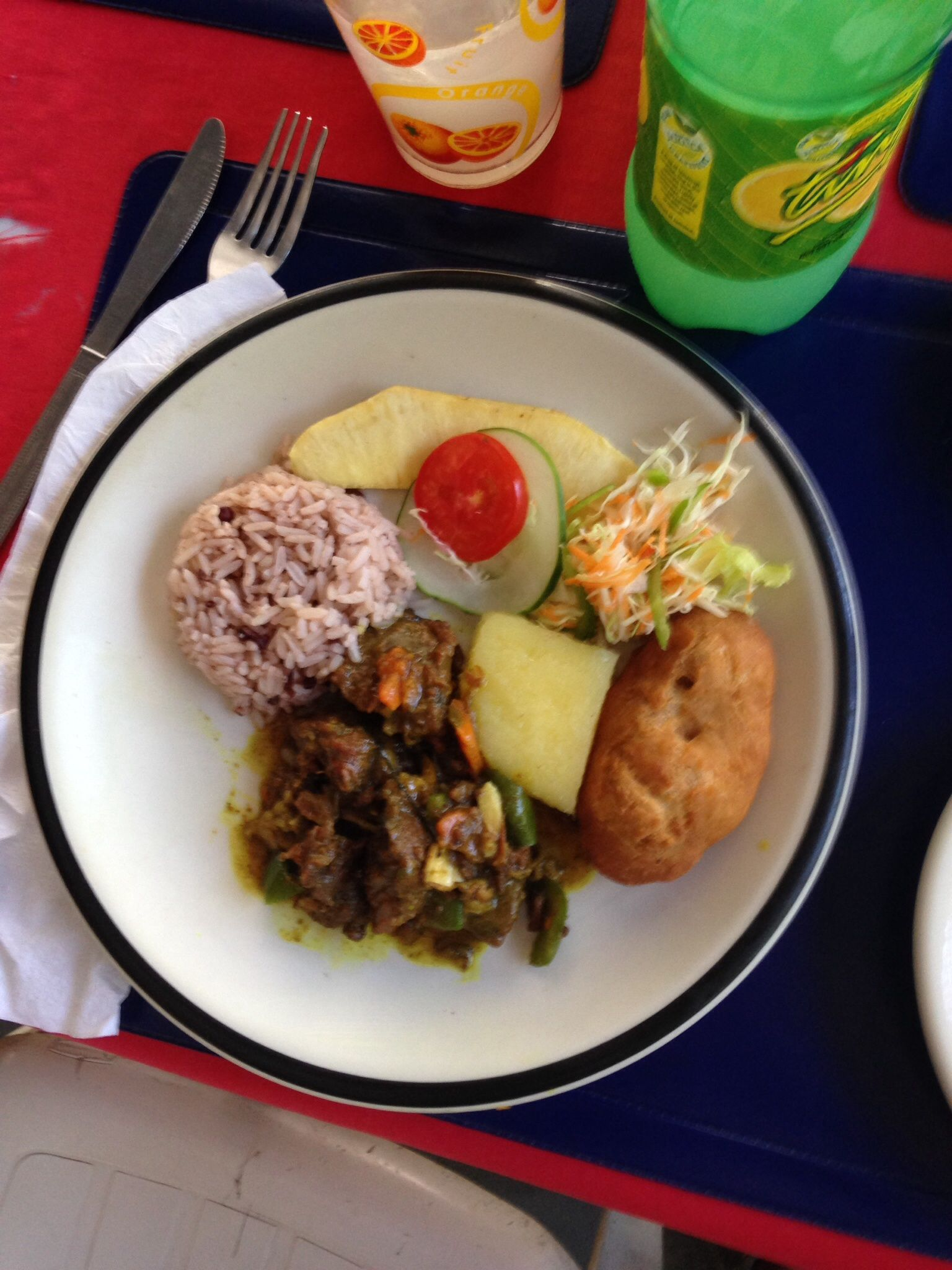 Curry Goat w/Rice & Peas (fried breadfruit, yellow yam & festival ...