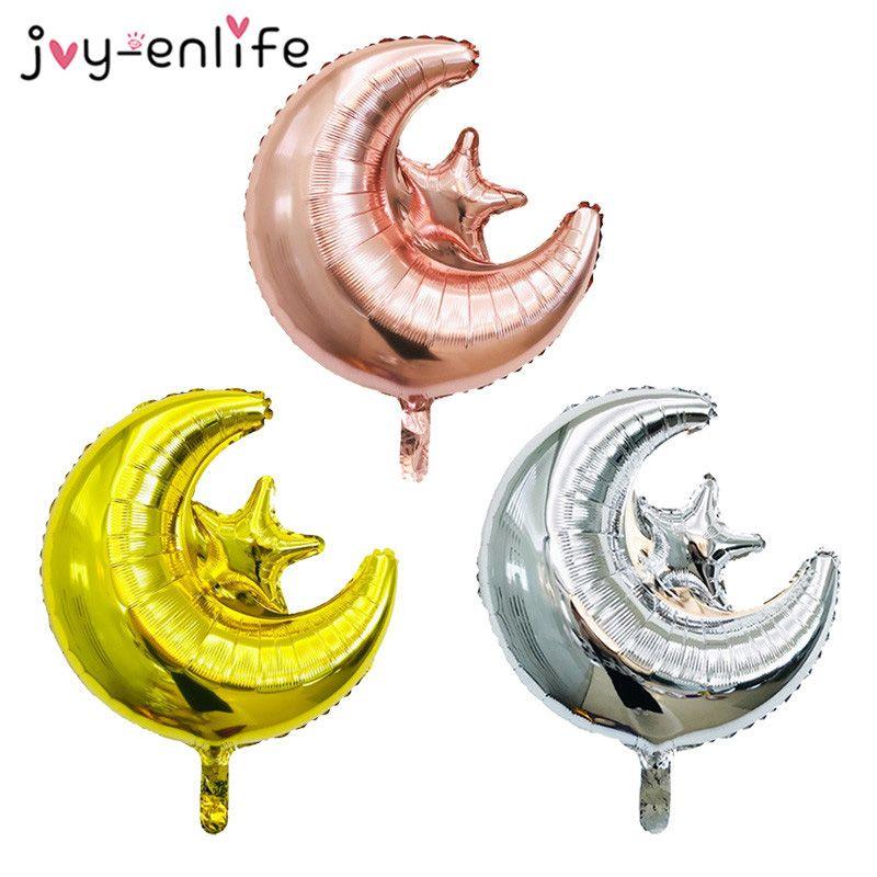 18inch Moon Star Eid Mubarak Helium Balloons Decor Ramadan Foil Balloons