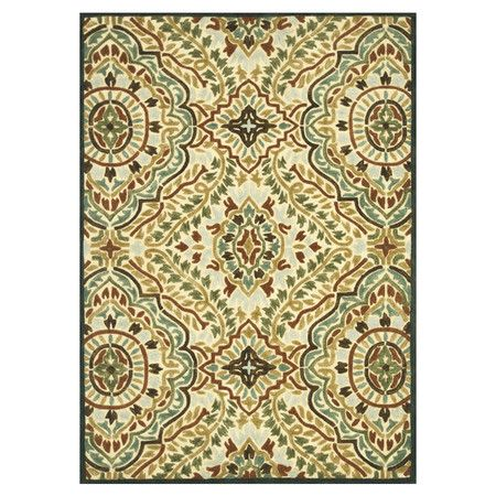 Wool Rug With A Medallion Motif Hand Tufted In India