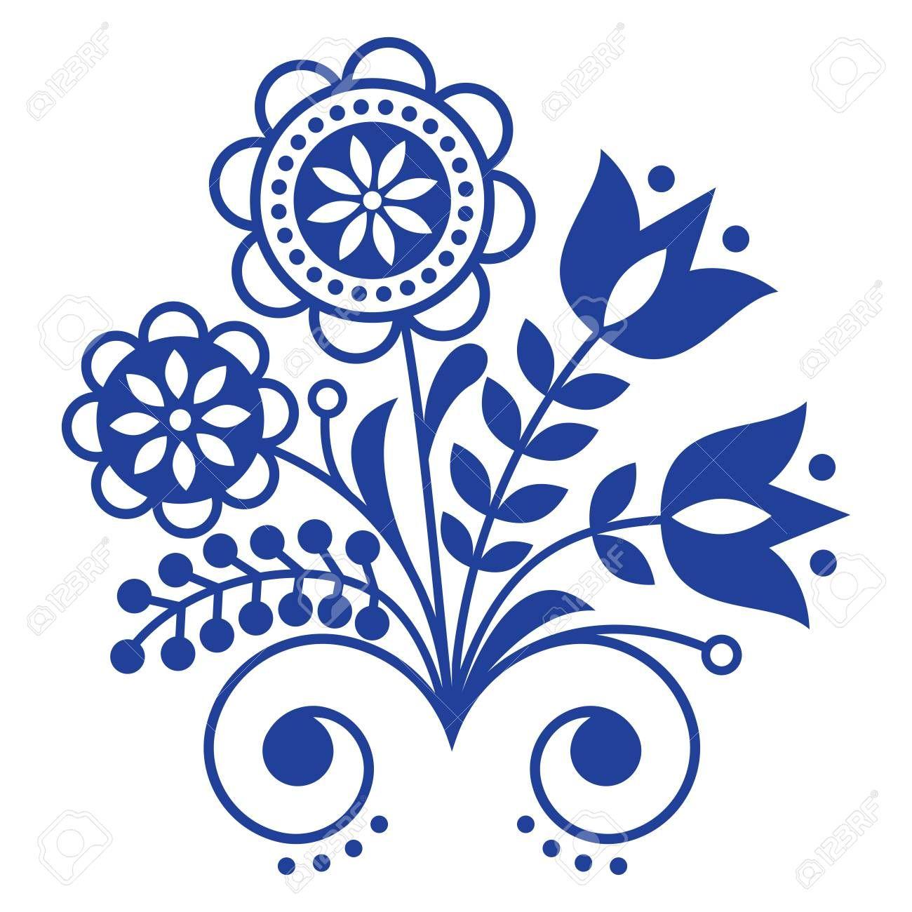 Scandinavian Folk Art Ornament With Flowers Nordic Floral Design In 2020 Folk Art Ornament Folk Art Flowers Scandinavian Folk Art