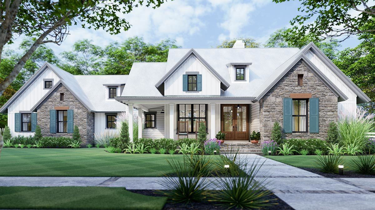 Plan 16916wg 3 Bedroom New American Farmhouse Plan With L Shaped Front Porch Modern Farmhouse Plans American Houses Cottage Style House Plans