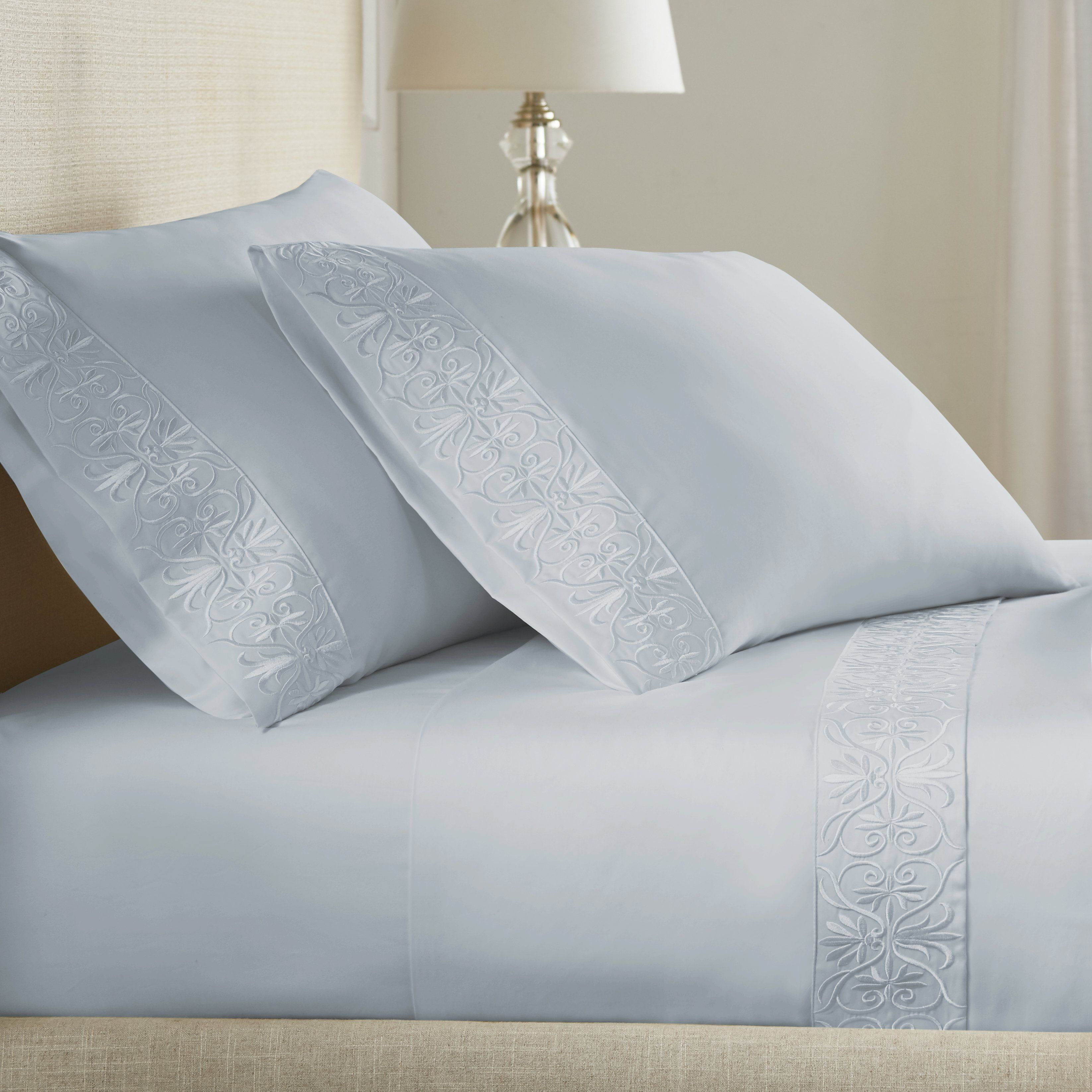 Ariane Sheet Set In Icy Blue 100 Els Giza Egyptian Cotton In
