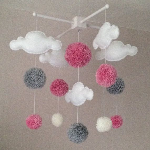 Baby mobile - Cot mobile - clouds and pom poms - Cloud Mobile - Baby girl mobile - Nursery Decor - Pastel Nursery - Pink, white and grey
