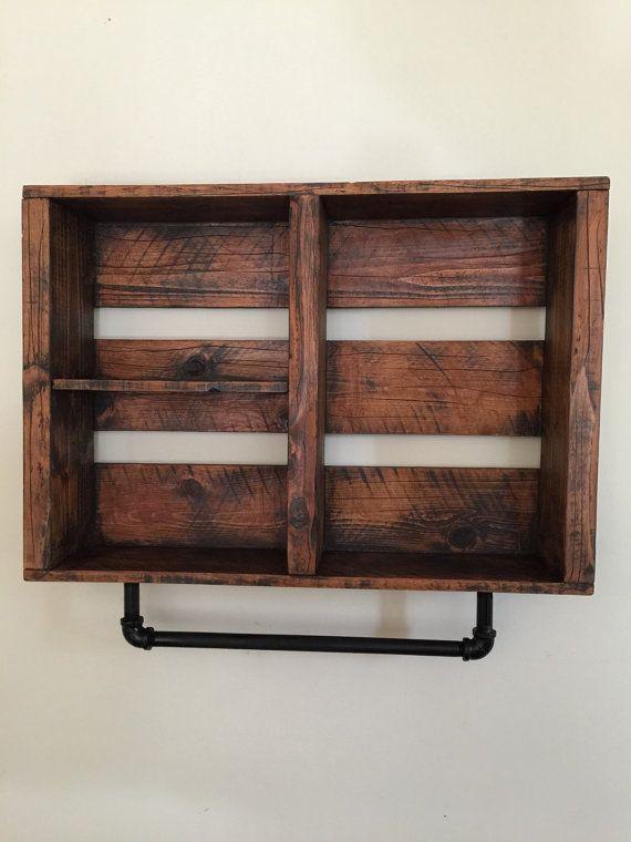 rustic Bathroom shelf, FIRE TREATED with pipe towel rack, aged wood ...