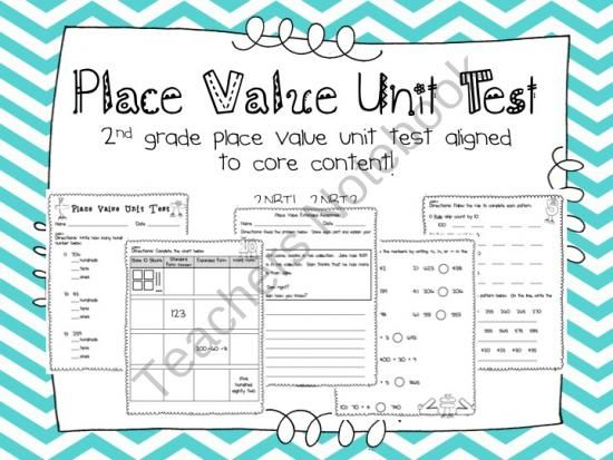 Place Value Unit Test- Aligned to 2nd Grade Core Content Content - place value unit