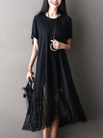 f3f2f35b4554 O-NEWE Casual Women Lace Patchwork Short Sleeve O-Neck Loose Long Dress