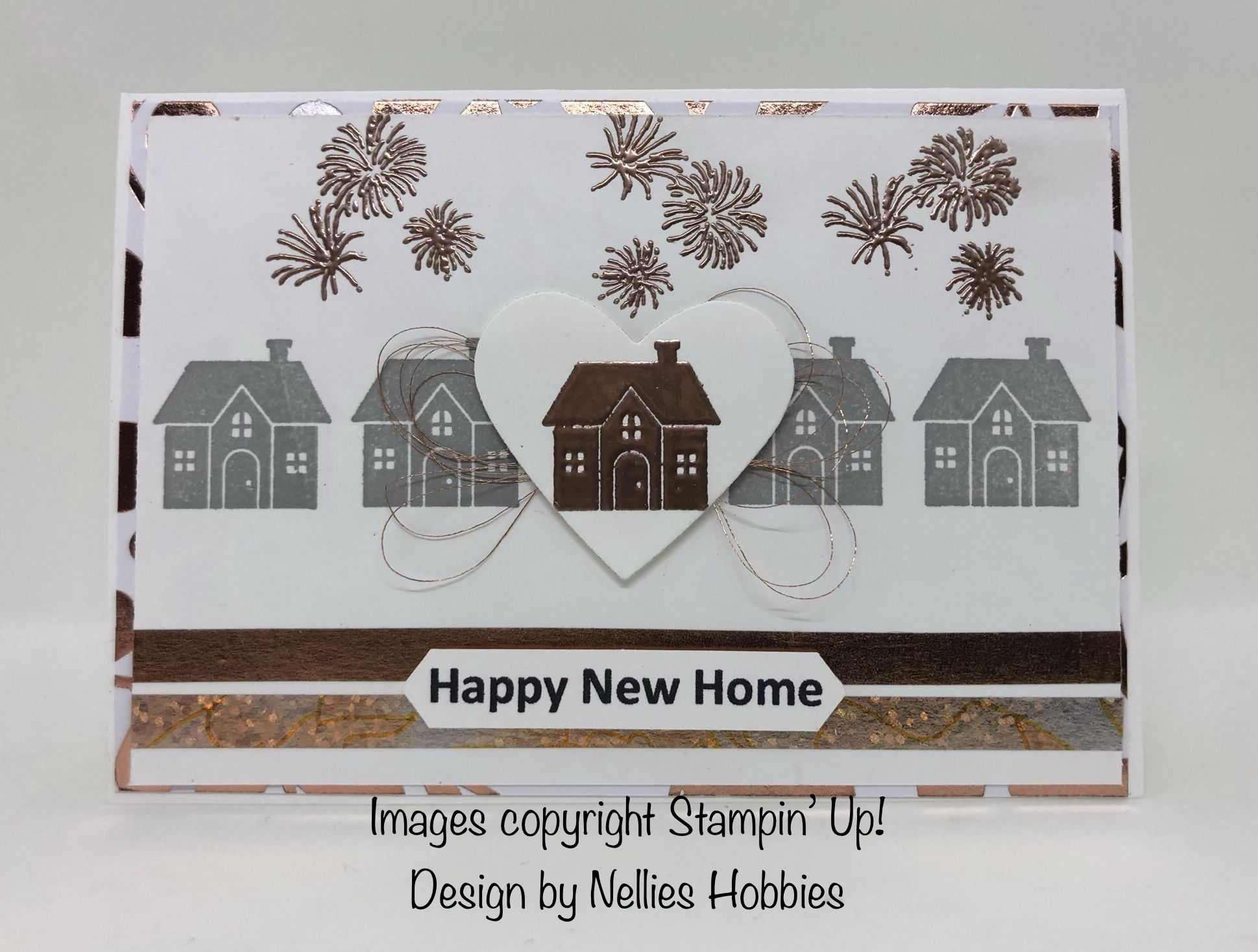 New home card using Hearts Come Home stamp set with copper heat ...