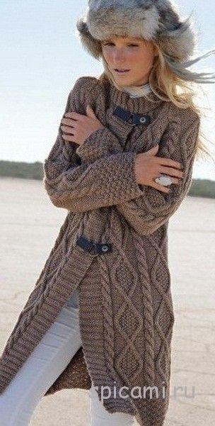 вязаное пальто фото спицами