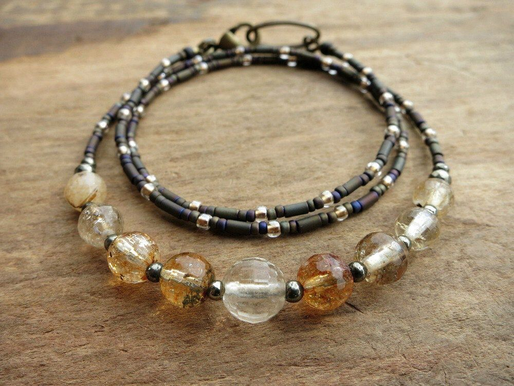 Photo of Dainty Citrine Necklace, rustic November birthstone jewelry with champagne and honey colored faceted gemstones