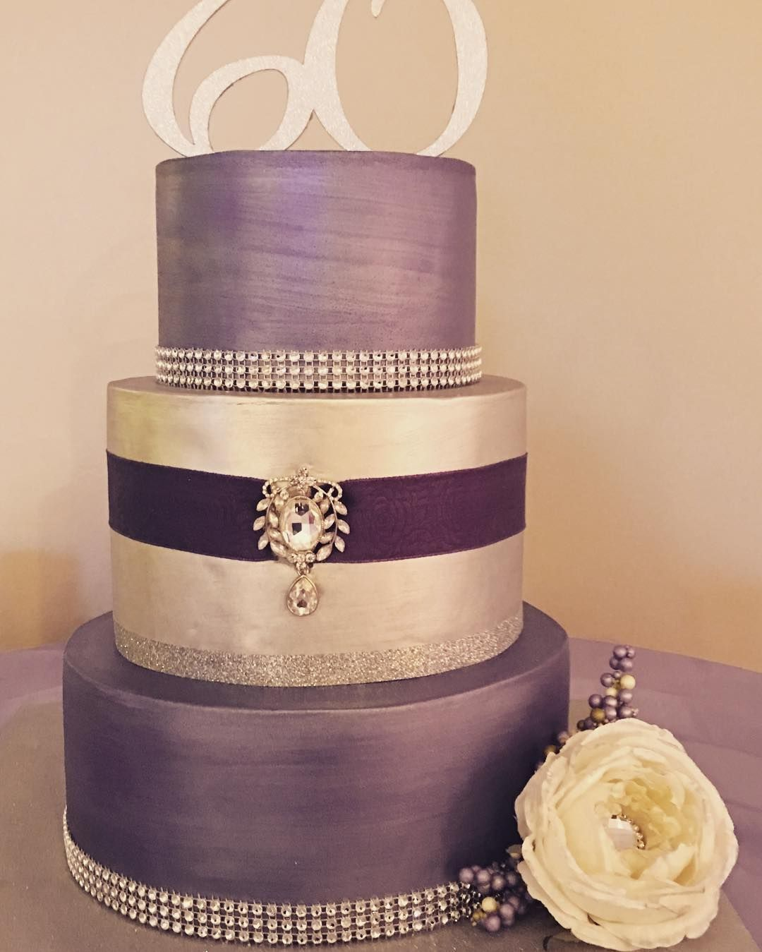 3 Tier Purple And Silver Metallic 60th Birthday Cake