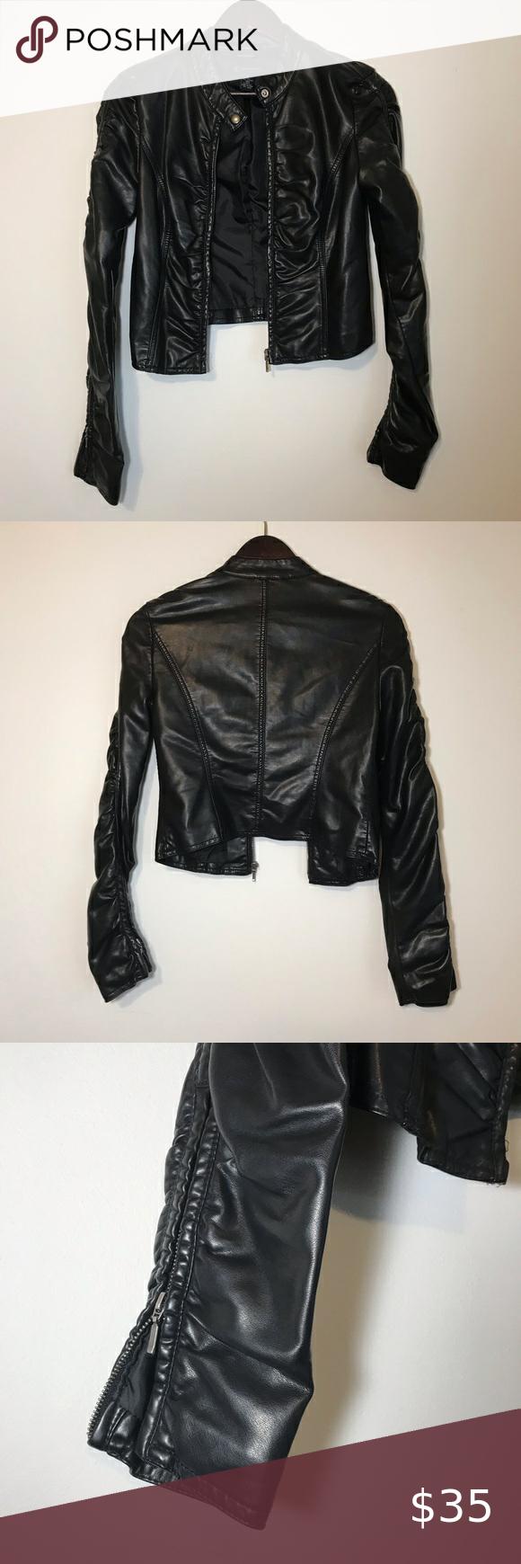 Inc Leather Crop Jacket Xs Crop Jacket Jackets Clothes Design [ 1740 x 580 Pixel ]