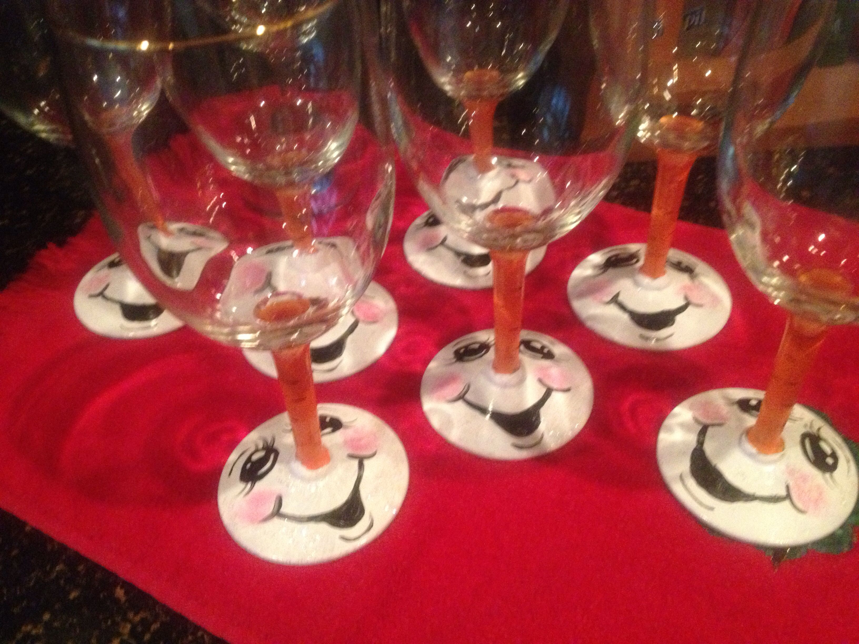 Cute Snowman Painted Wine Glasses Decorated Wine Glasses Wine Glass Crafts Hand Painted Wine Glasses