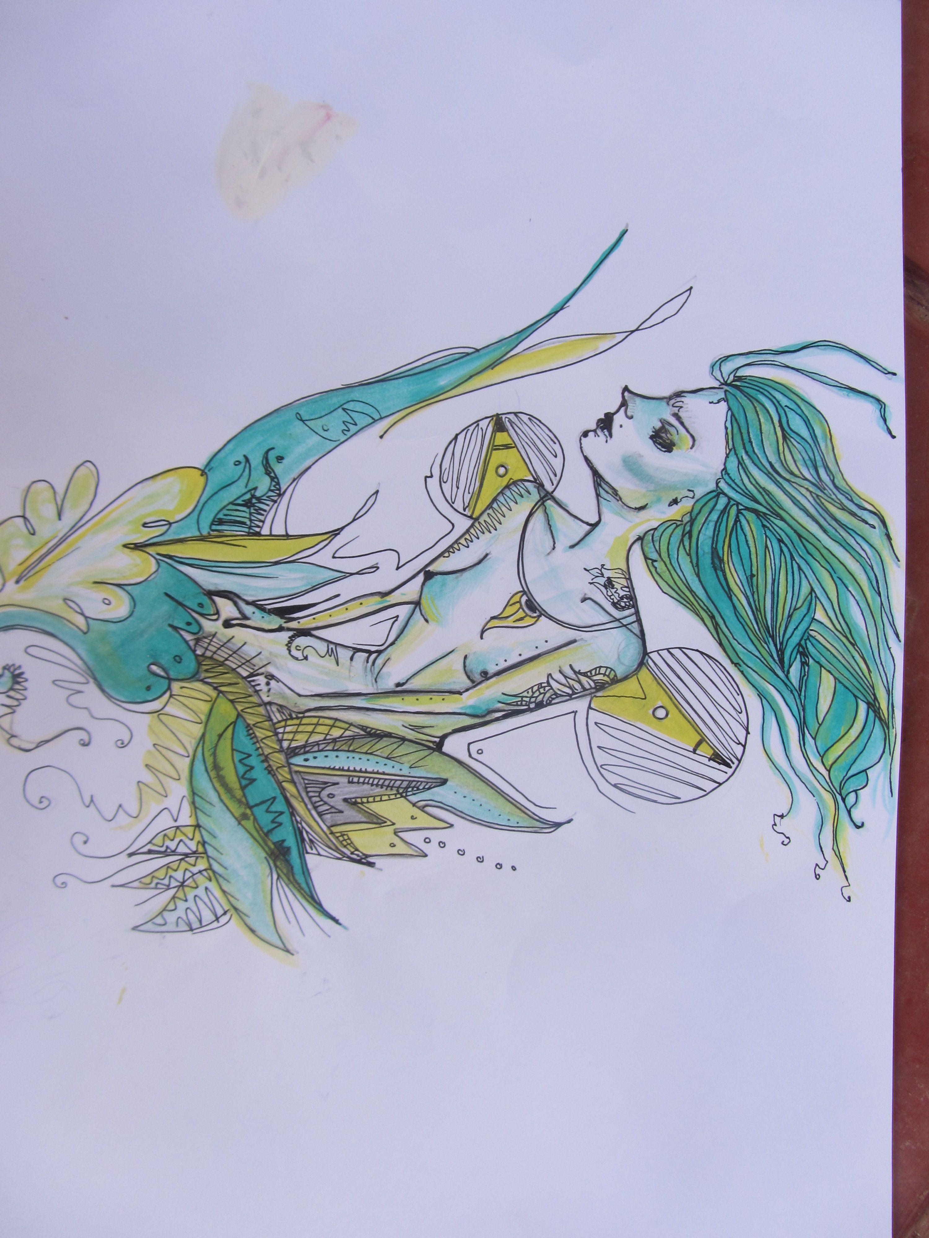en la selva la mística mujer pelo celeste turquesa amarillo