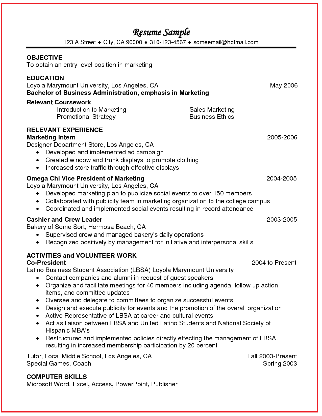 Coursework on a resume professional experience