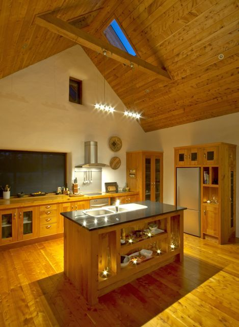 Gorgeous Open Plan Kitchen With Island And Big Bay Window  Straw House