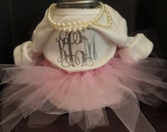 This Custom Baby Shower Centerpiece Includes Tutu, Monogrammed Onesie, And  Pearl Necklace. This Can Be Customized With Any Set Of Initials Or Colored  Tutu.