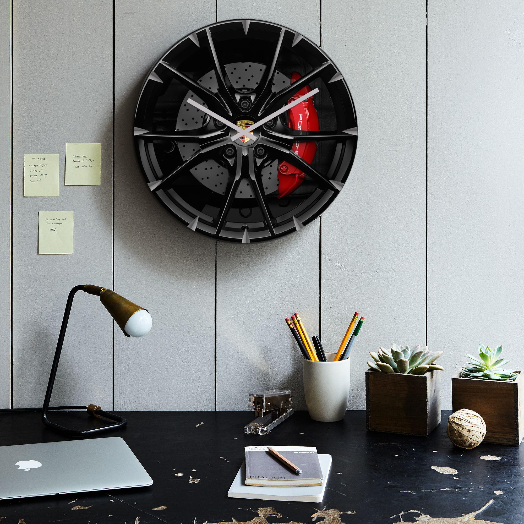 Christmas Present Idea For Men Porsche Wheel Clock Wheel Clock Porsche Wheels Aviation Furniture