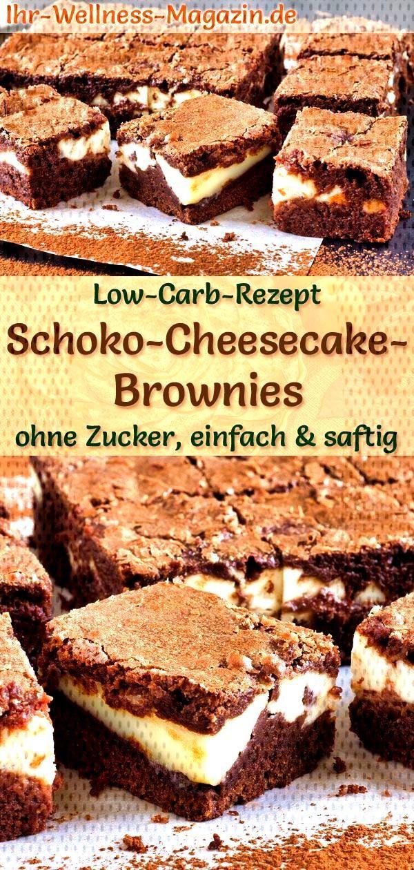 Low carb chocolate cheesecake brownies - simple recipe without sugar - Chocolate cheesecake browni