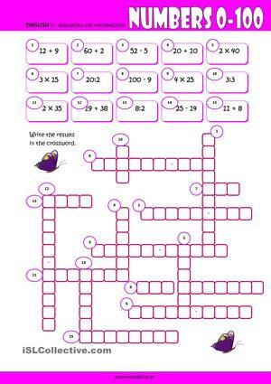 Spell some numbers between 0-100 in this crossword intended for beginners of English. - ESL worksheets | Taller de ingles. Matematicas en ingles y ...