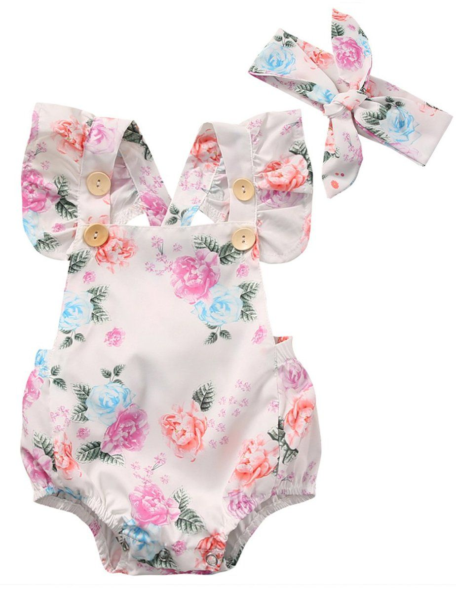 32c66107411a Summer Code Baby Girls Floral Print Romper Button Ruffles Bodysuit Outfit  With Headband