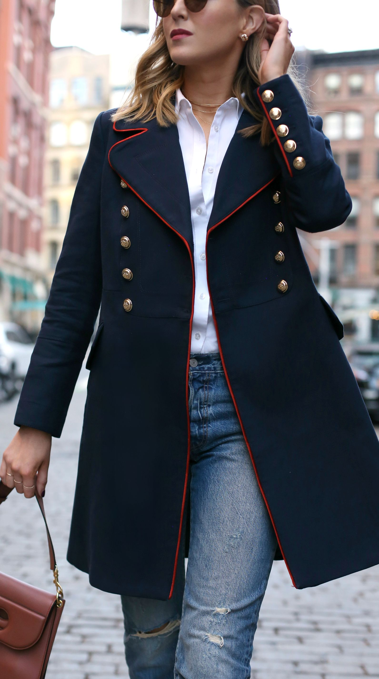 2f80c7e762e navy military coat with red piping and brass double-breasted buttons ...