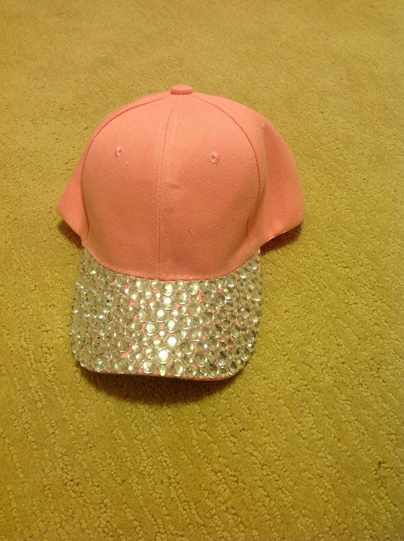 NEW! Awesome baby pink baseball cap decorated with clear rhinestones ... 36a903ece85
