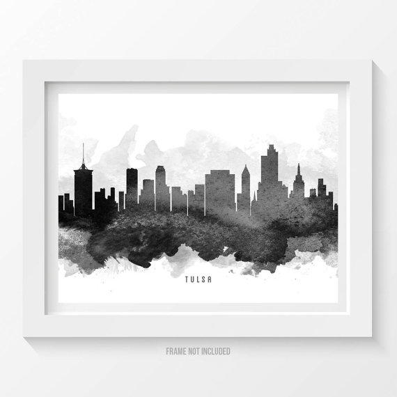Home Decor Tulsa: Tulsa Oklahoma Skyline, Tulsa Cityscape, Tulsa Print