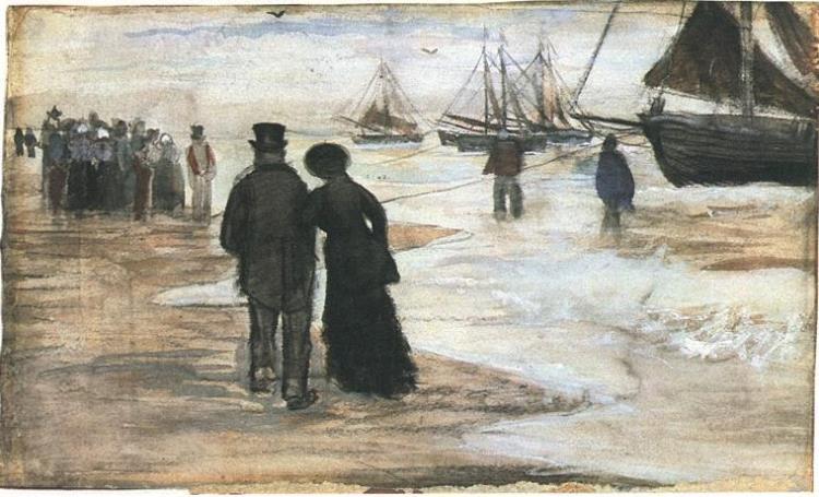 Vincent van Gogh Playa con personas caminando y barcos Watercolor