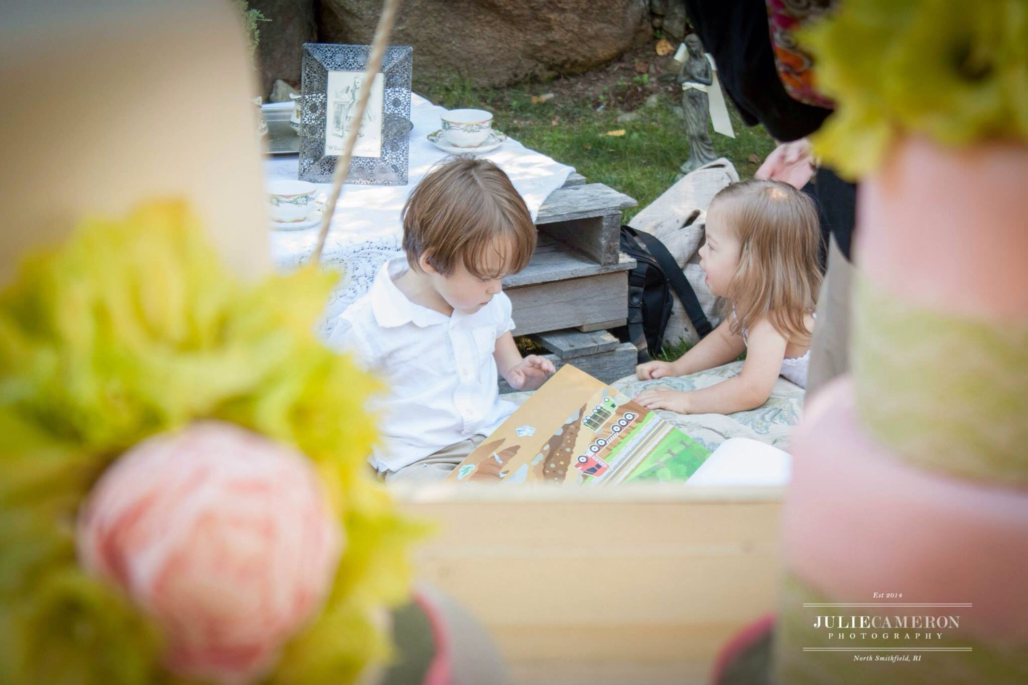 Flower girl and ring bearer at aunties shower