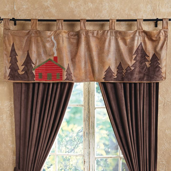 Cabin Scene Valance Country Cabin Decor Rustic Decor Curtains Rustic Curtains