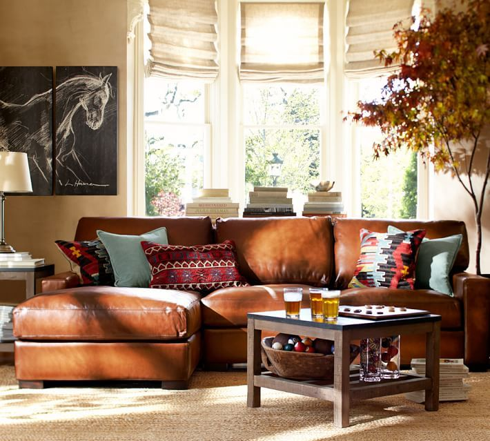 Turner Square Arm Leather Sofa With Chaise Sectional In