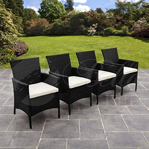 BLACK Set of 4 Rattan Chairs with Cushions Outdoor Garden Patio