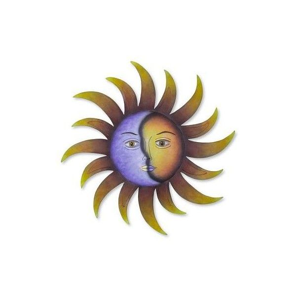 NOVICA Artisan Crafted Sun and Moon Wall Art in Hand Painted Steel ($78) ❤ liked on Polyvore featuring home, home decor, wall art, wall decor, yellow, sun moon wall art, moon wall art, moon home decor, novica and yellow home decor