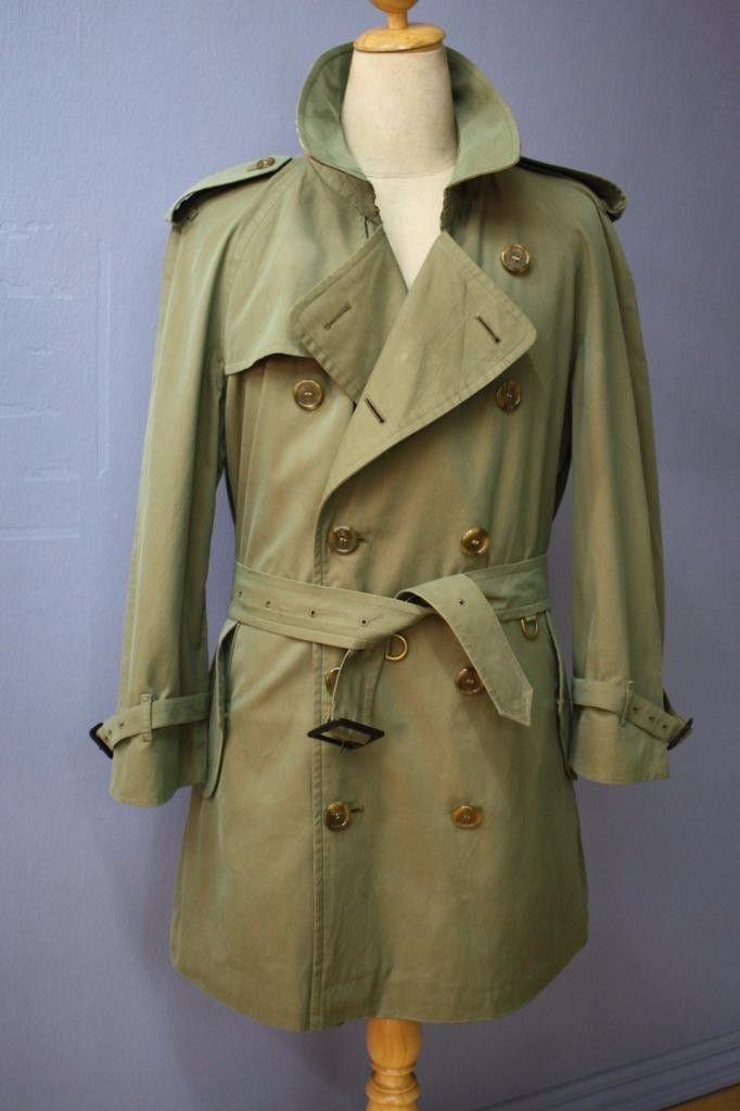 Mens BURBERRY Bespoke Short TRENCH Coat Mac Green UK/USA 38/40 Medium