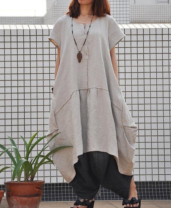 Retro mujer plus tamaño vestido Jersey plisado vestido largo